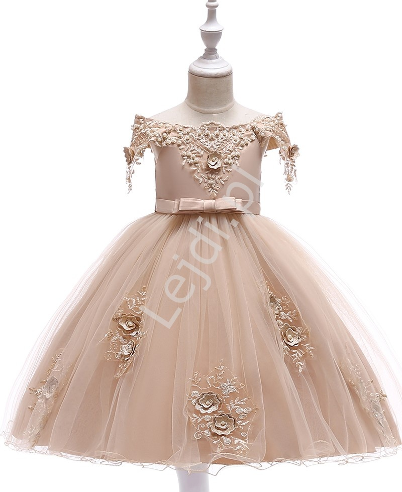 Wieczorowa sukienka dla dziewczynki w kolorze szampana 057 - Lejdi