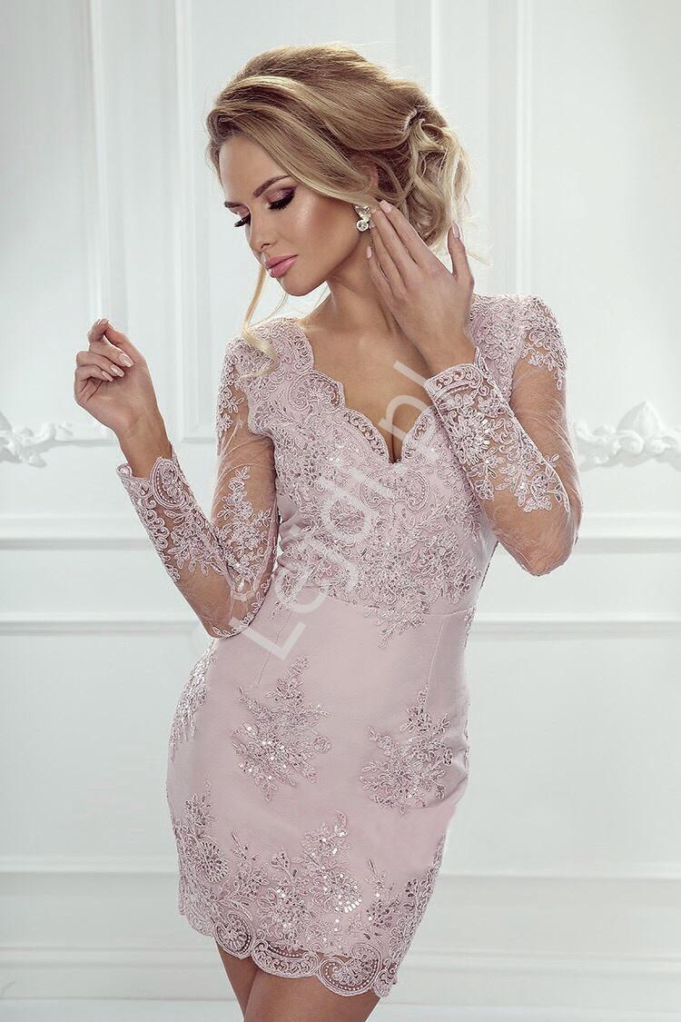 Wieczorowa sukienka koronkowa w kolorze pudrowego różu - Diana - Lejdi