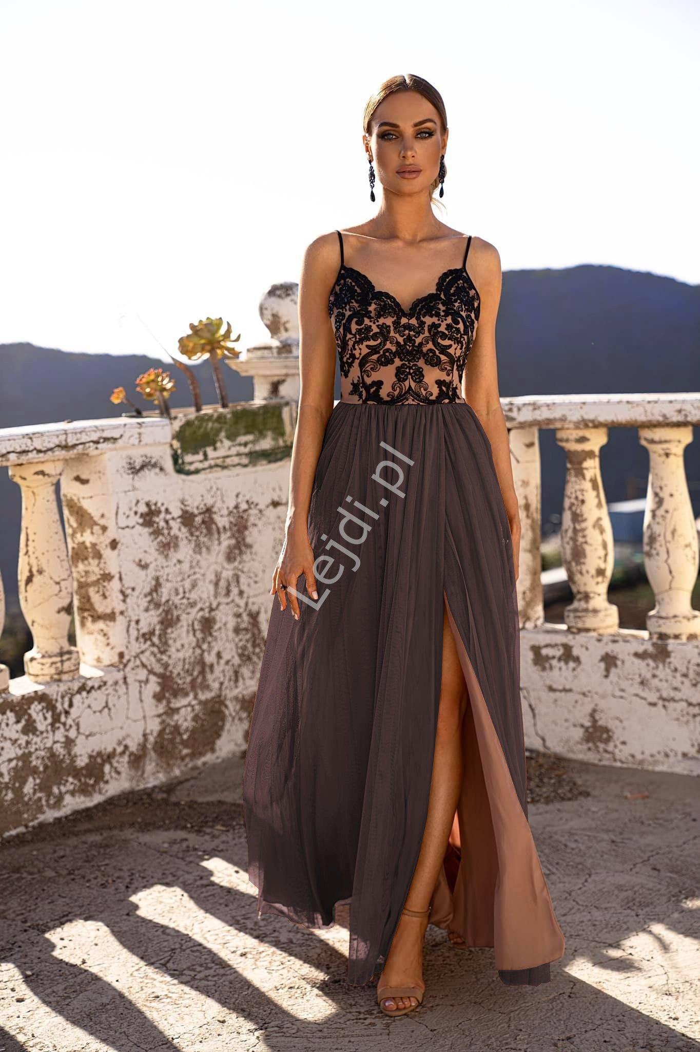 Wieczorowa sukienka tiulowa czarna z beżową podszewką, Moli - Lejdi