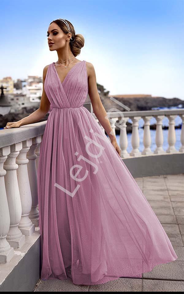 Wieczorowa sukienka tiulowa z brokatem, pustynny róż Agnes EMO - Lejdi