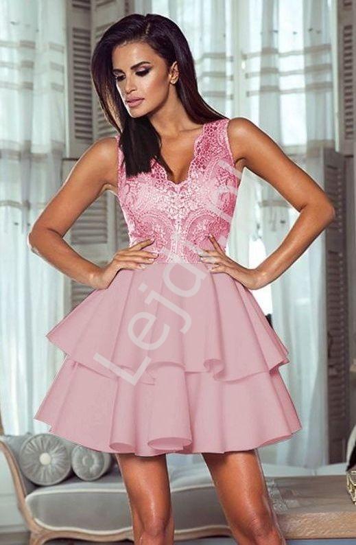 cc88219fd4877f Wieczorowa sukienka z piankową spódnicą z falbanami - Emma, cukierkowy róż