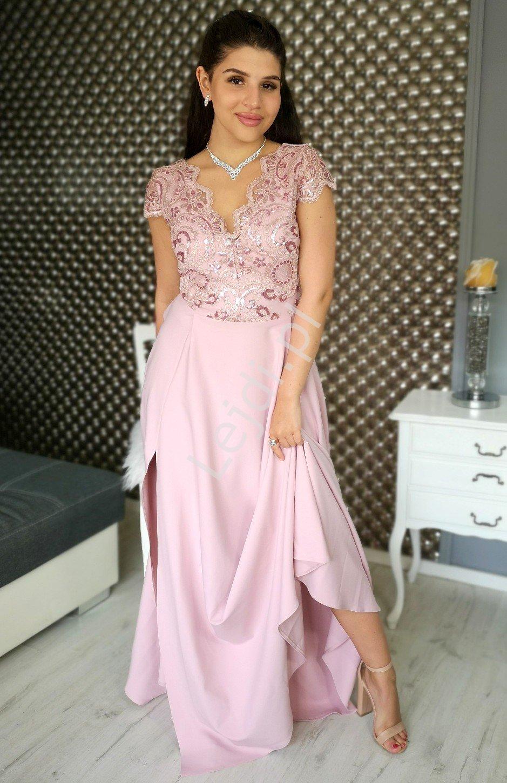 Wieczorowa sukienka z rozporkiem w kolorze pustynnego różu Crystal 2 - Lejdi