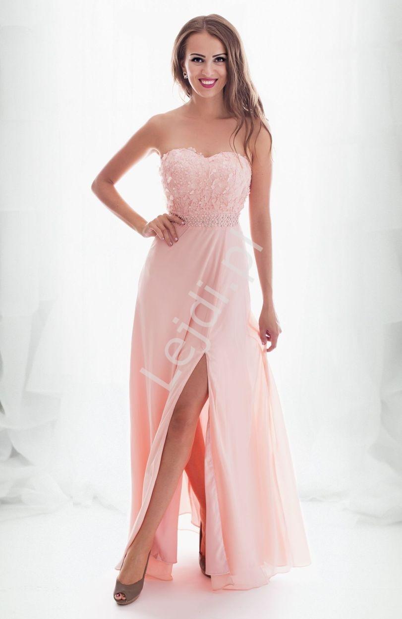 Wieczorowa suknia dla druhny, na wesele, na studniówkę, jasno różowa długa 2141 - Lejdi