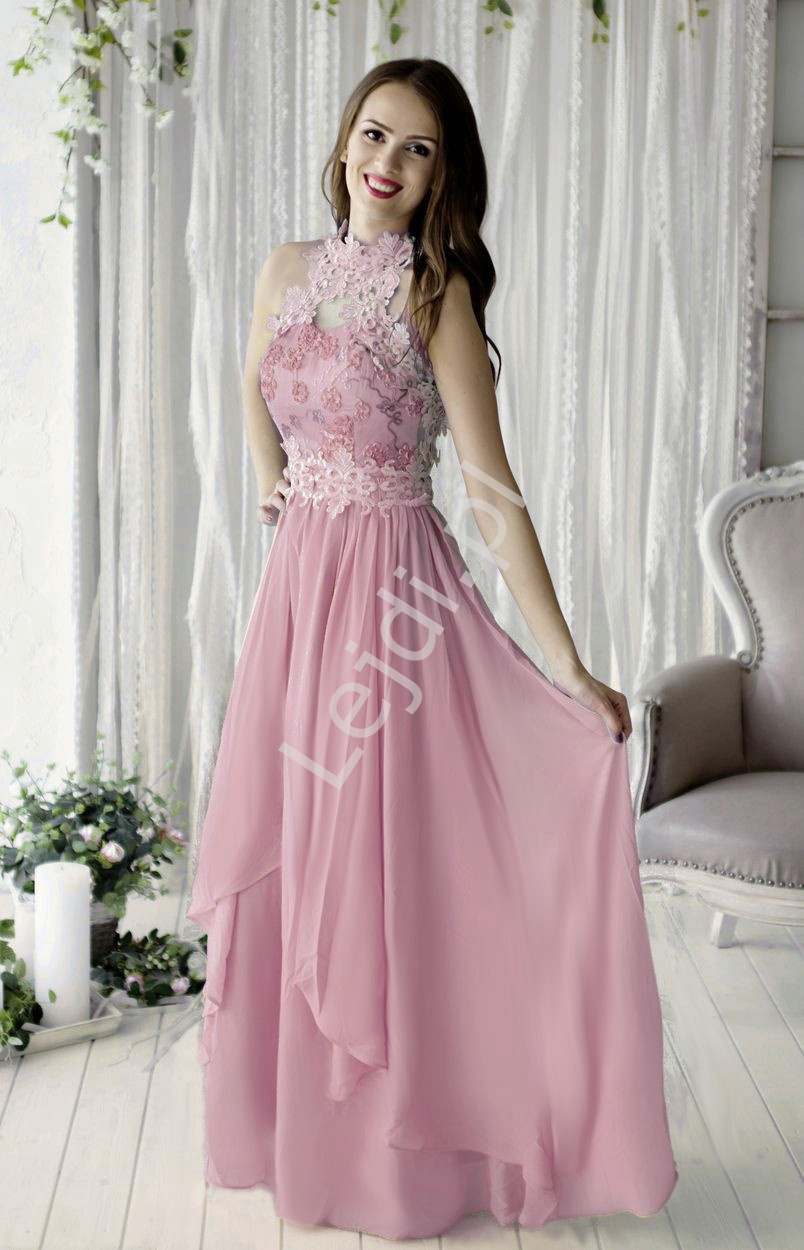Wieczorowa suknia w kolorze wrzosu z kwiatami 3D - Lejdi
