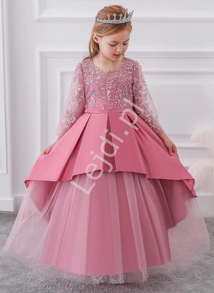 Wiktoriańska długa sukienka dziecięca w barokowym stylu w kolorze pustynnego różu 233 - Lejdi