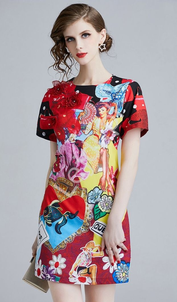 Wizytowa sukienka z motywem Pin up girls - Lejdi
