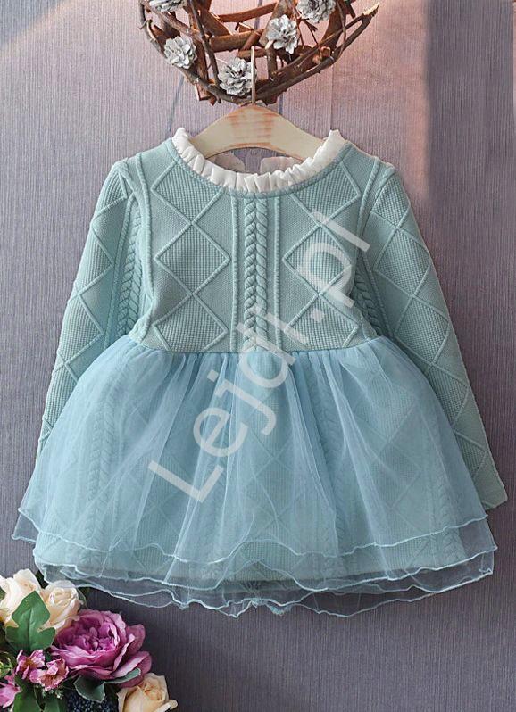 Wizytowa turkusowa sukienka dla dziewczynki z tiulową spódnicą 939 - Lejdi