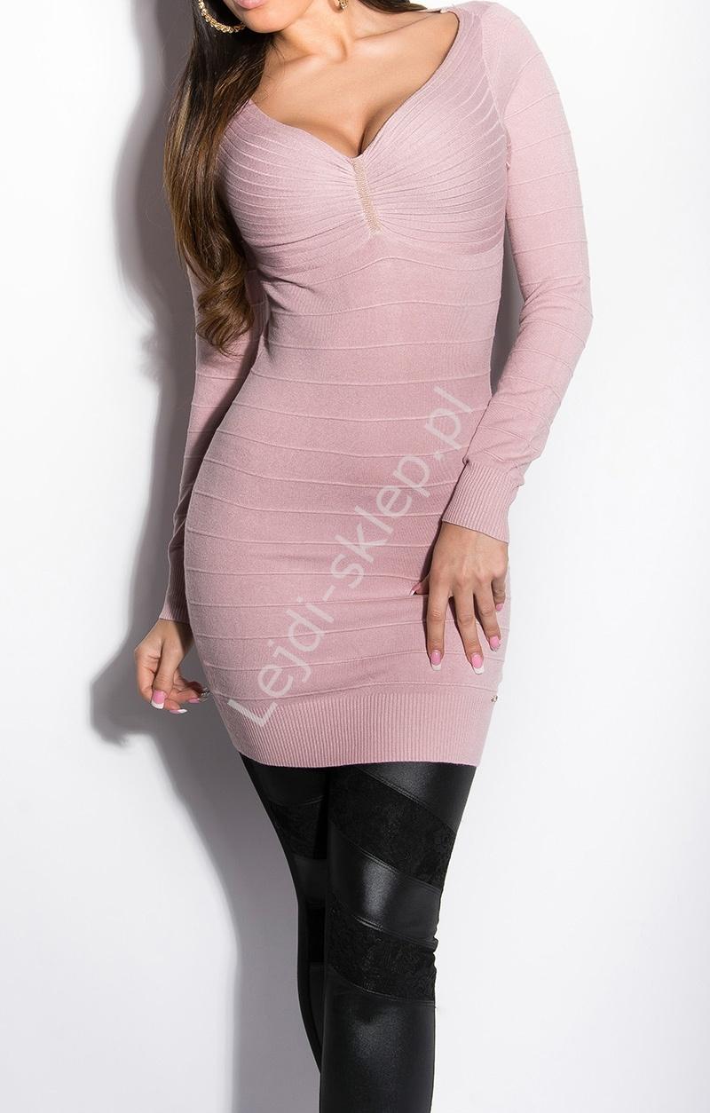 Wrzosowa bandażowa sukienka / tunika z dzianiny, rozcięcia na plecach| fioletowe sukienki dzianinowe - Lejdi