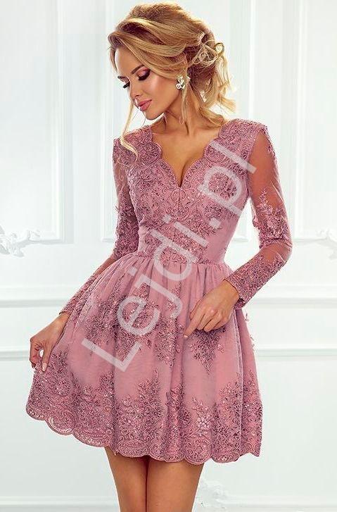e3440d00e5 Wrzosowa koronkowa sukienka wieczorowa - Amelia - Lejdi.pl