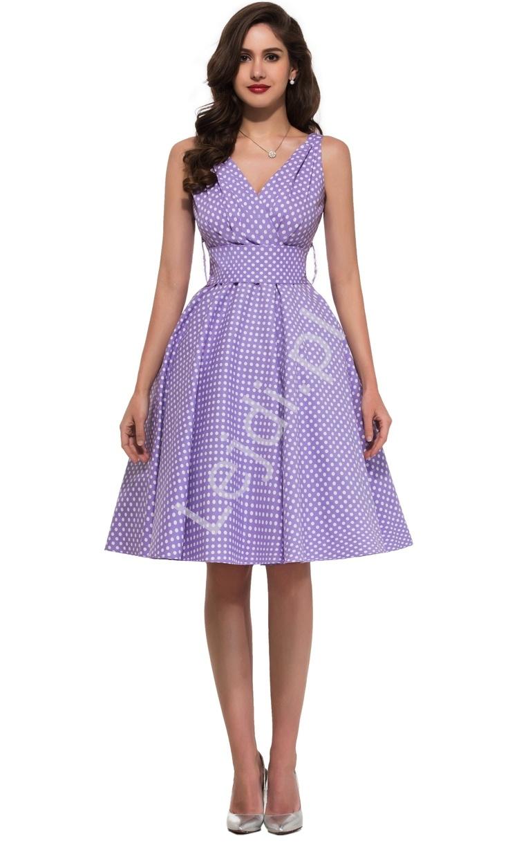 Wrzosowa rozkloszowana sukienka w kropki | sukienka pin up na wesele 6295-7 - Lejdi