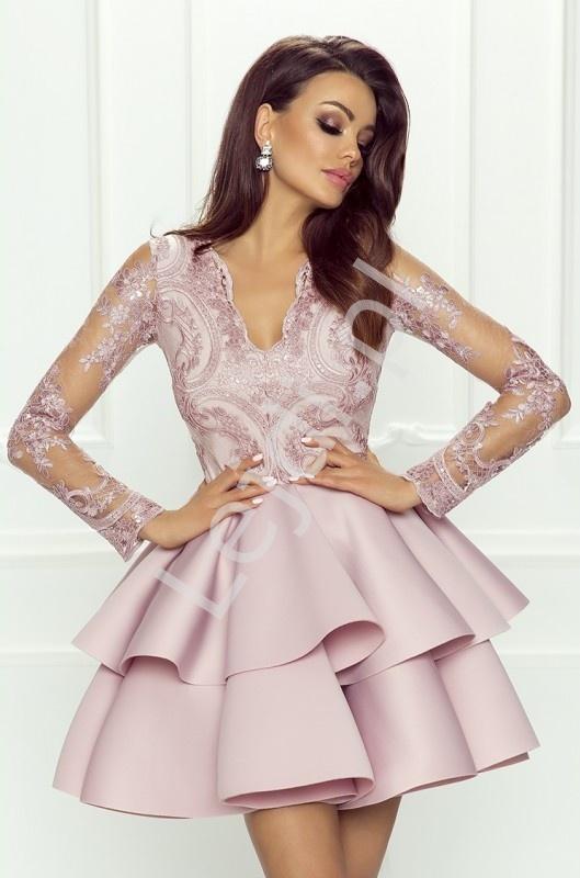 4bb030a41a Wyjątkowa pudrowo różowa krótka sukienka z falbaną - wieczorowa Lili ...