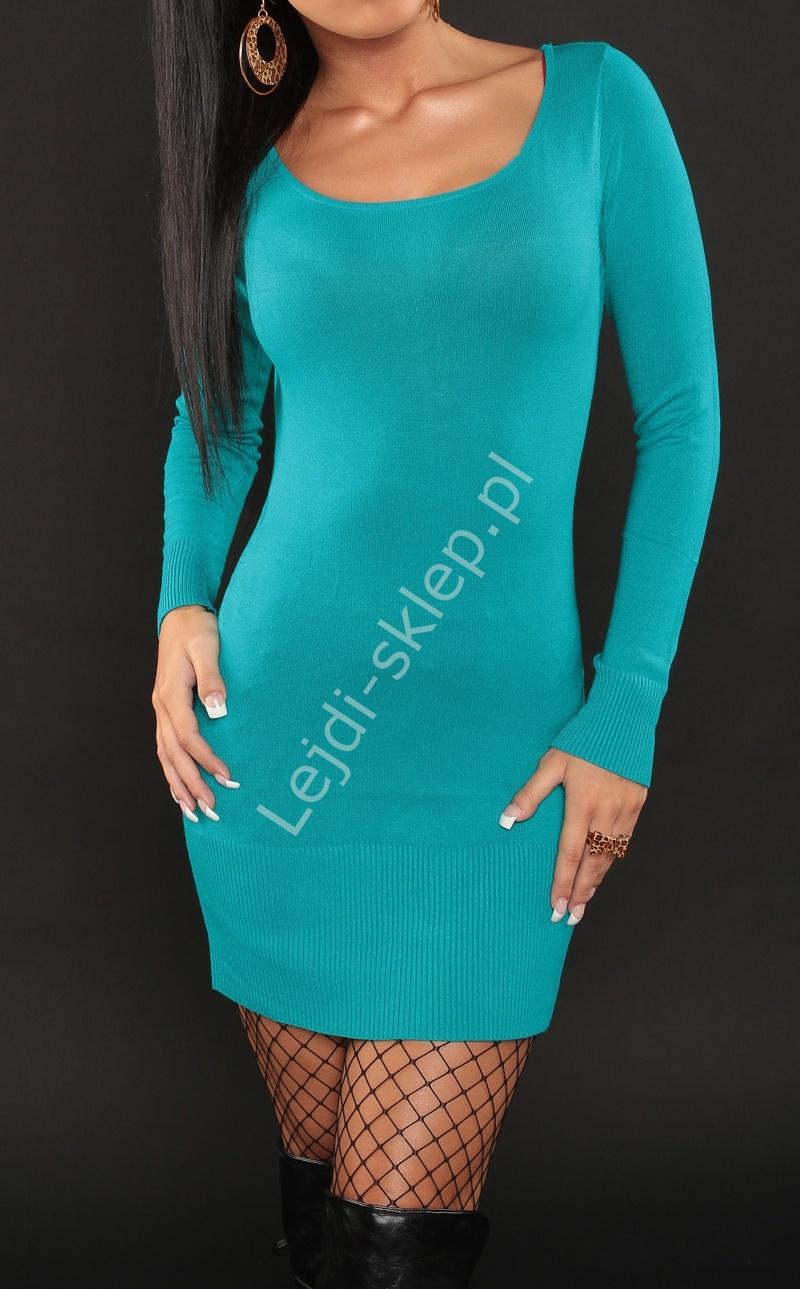 Turkusowa sukienka z kokardkami na plecach - Lejdi