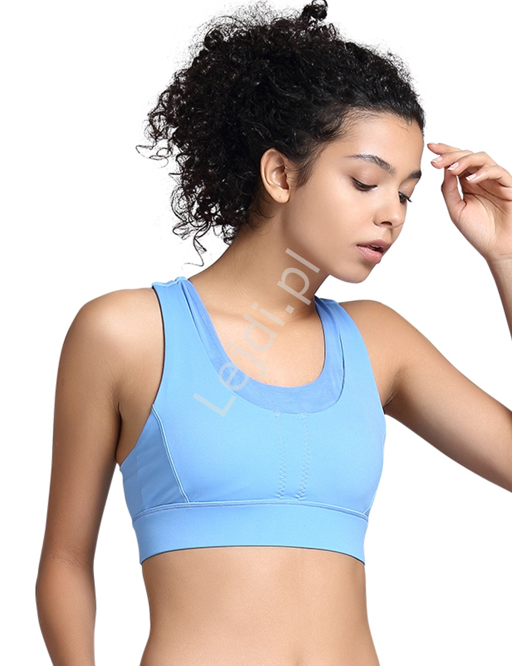 Błękitny top bezszwowy, biustonosz sportowy do fitnessu, jogi, tabaty 0074 - Lejdi
