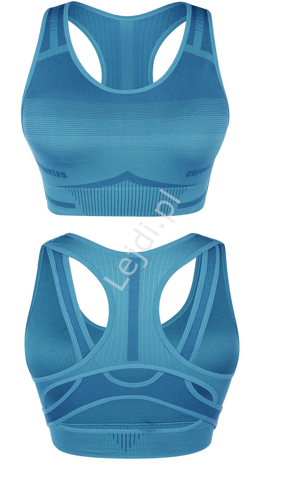 Niebieski bezszwowy biustonosz sportowy do areobiku, jogi, pilatesu 0047 - Lejdi