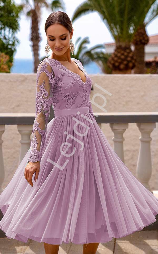 Zachwycająca sukienka midi w kolorze pustynnego różu, Rene - Lejdi