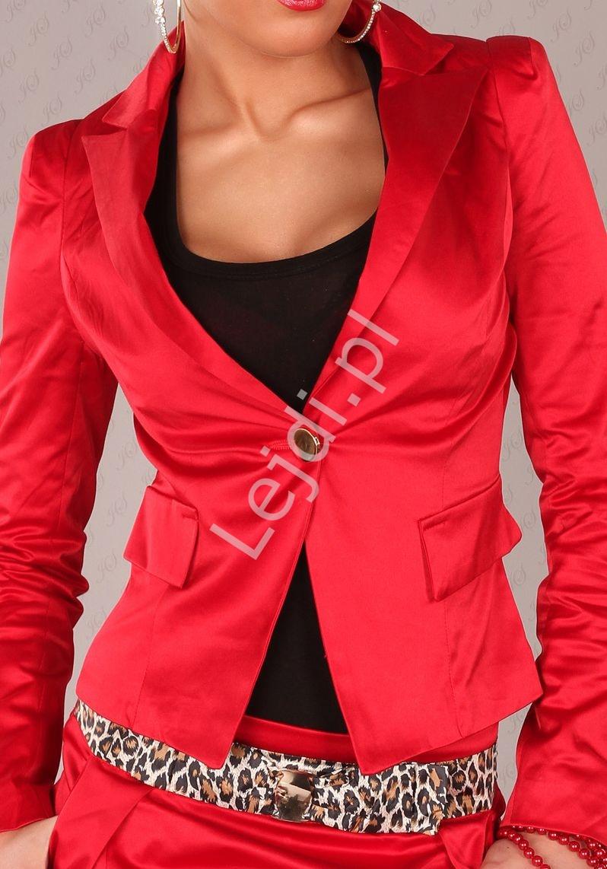 Żakiet damski czerwony z guzikami na mankietach V703 - Lejdi