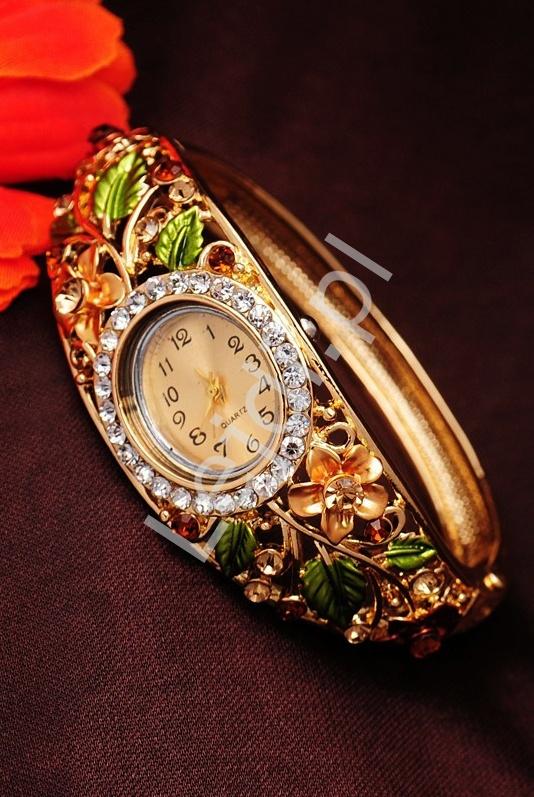 Zegarek biżuteryjny z kolorowymi kwiatami 3D| zegarek damski z cyrkoniami