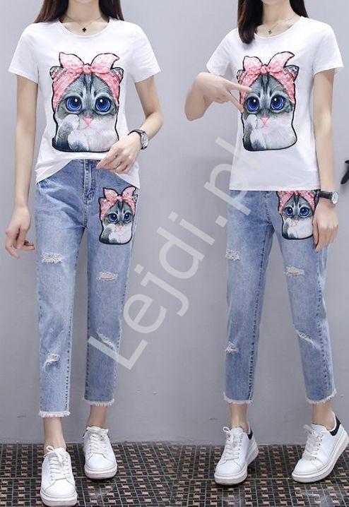 Zestaw 2- częściowy jeansy damskie z kotem oraz t-shirt z kotem - Lejdi