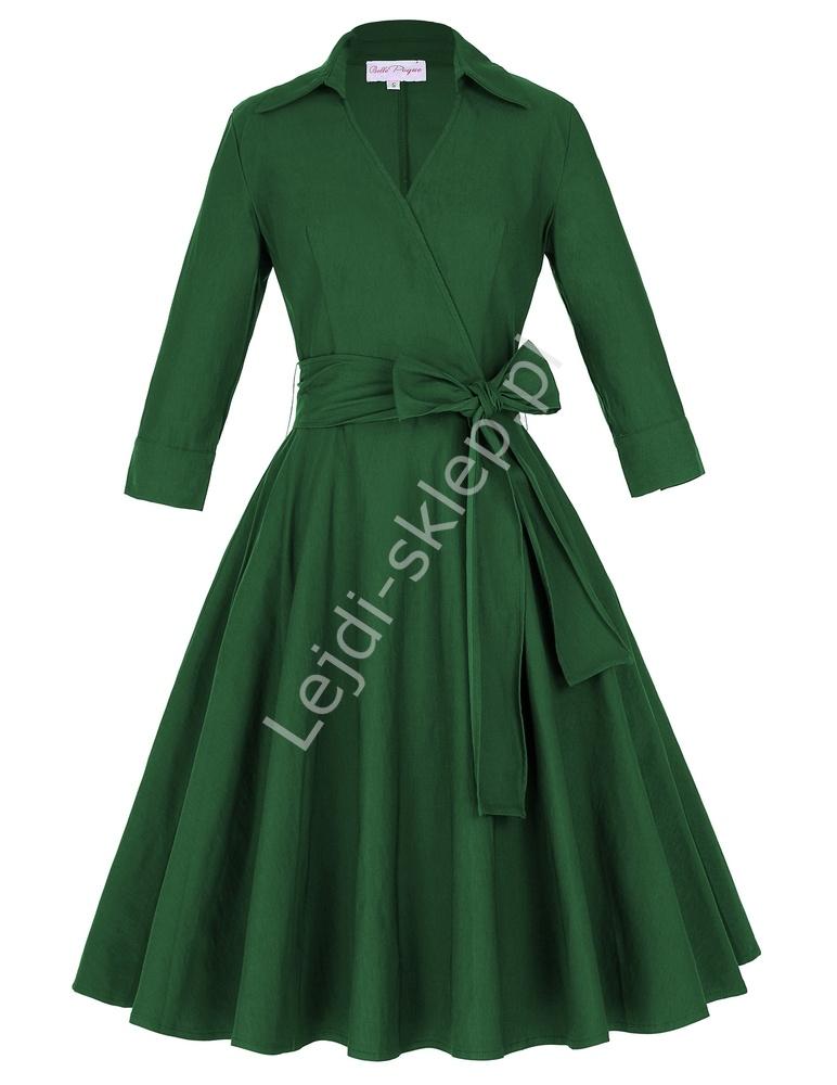 Zielona bawełniana sukienka w stylu retro | sukienka lata 60-te z kopertowym dekoltem - Lejdi
