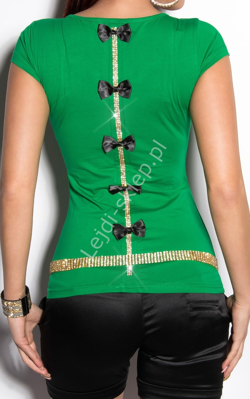 Zielona bluzka -T-shirt z cyrkoniową taśmą i czarnymi kokardkami | zielona koszulka - Lejdi