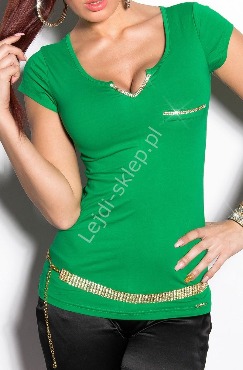 345dab123b Zielona bluzka -T-shirt z cyrkoniową taśmą i czarnymi kokardkami ...