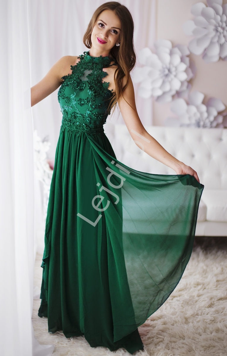 Zielona długa suknia wieczorowa z kwiatami 3D - Lejdi