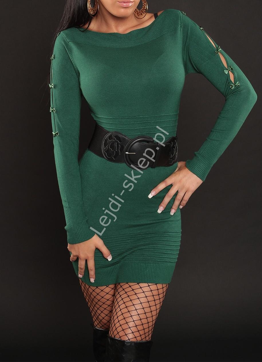 Zielona dzianinowa sukienka z czarnym paskiem w pasie, 3105 - Lejdi