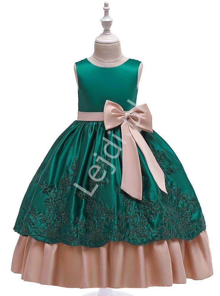 Zielona sukienka dla dziewczynki z beżowymi kokardkami 220 - Lejdi