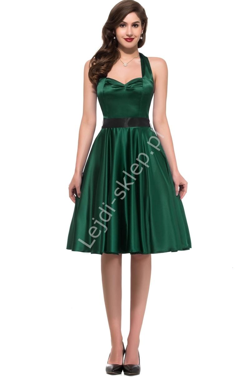 Zielona sukienka pin-up wiązana na szyi, lata 60-te,70-te, 8950 - Lejdi