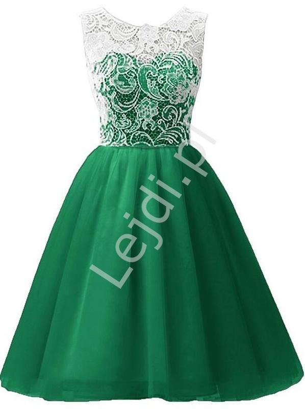 Zielona sukienka szyfonowa z koronkową białą górą | sukienki dla dziewczynek - Lejdi