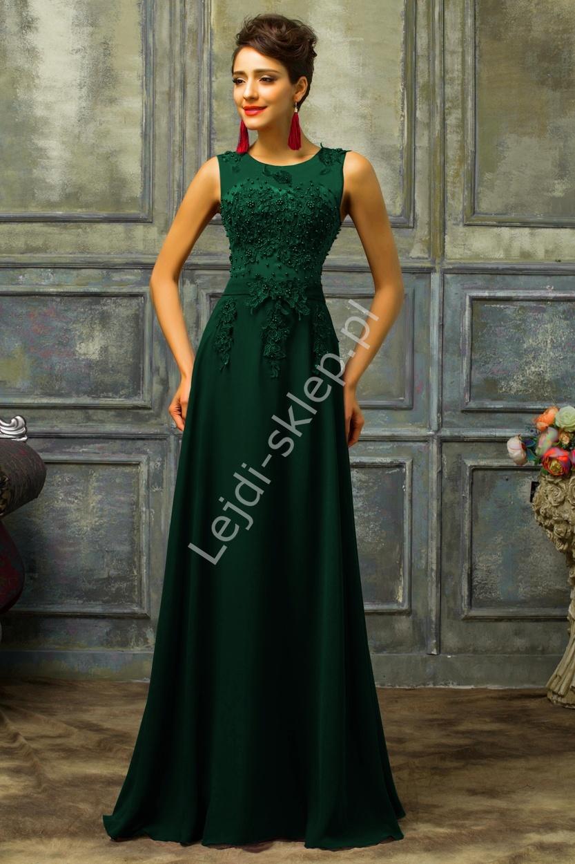Zielona suknia z perłami | zielone długie butelkowa zieleń - Lejdi