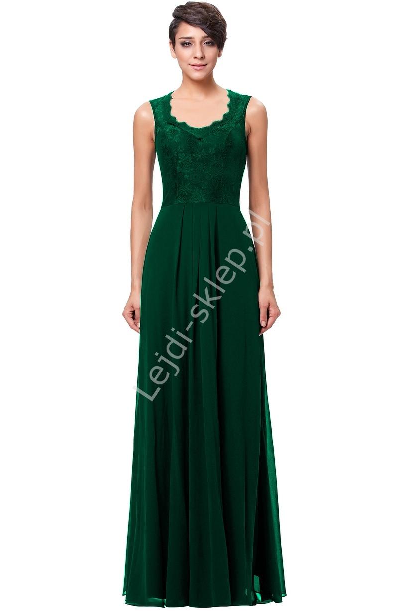Zielona szyfonowa skromna suknia z koronką | zielona suknia dla mamy, świadkowej - Lejdi