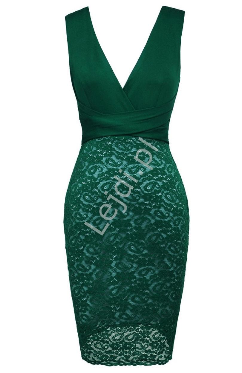 Zielona wysmuklająca sylwetkę sukienka z koronką - Lejdi