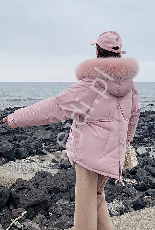 Zimowa kurtka damska z gwiazdą na plecach w jasno różowym kolorze 9813 - Lejdi