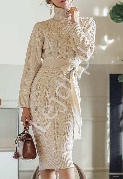 Zimowa sukienka z grubo tkanej dzianiny 6964 - Lejdi
