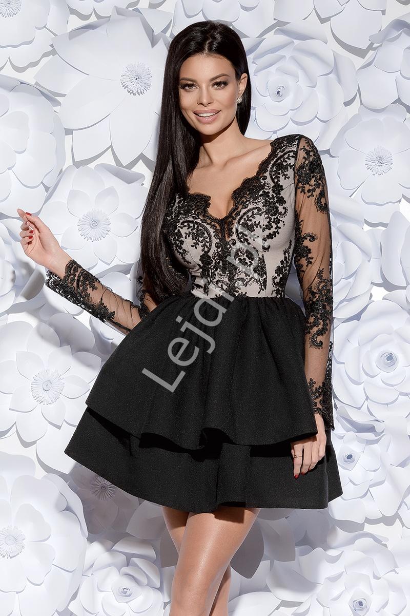 Zjawiskowa czarna sukienka wieczorowa w długi rękaw | krótka rozkloszowana sukienka 2132-06 - Lejdi