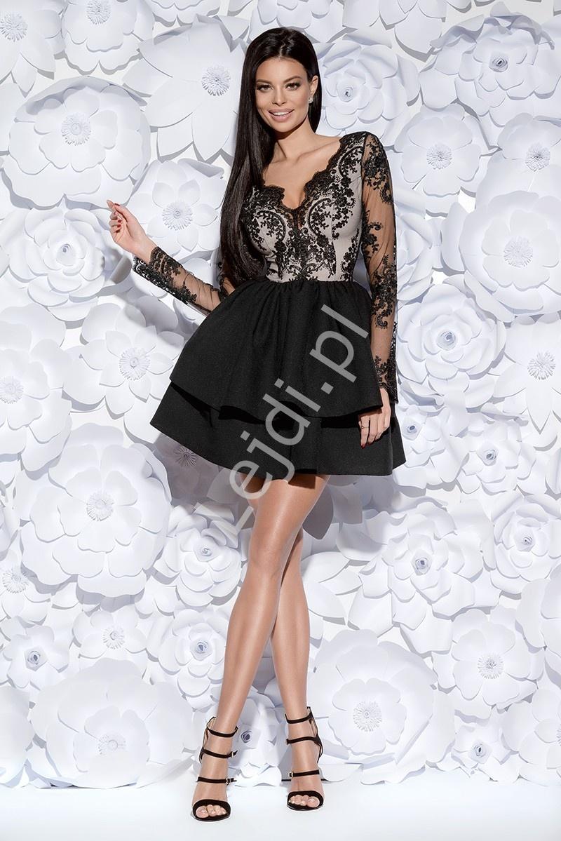 6a283a3f36 Zjawiskowa czarna sukienka wieczorowa w długi rękaw