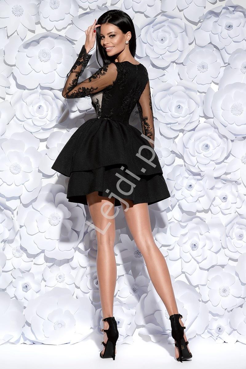 Znane Zjawiskowa czarna sukienka wieczorowa w długi rękaw | krótka  FP-75
