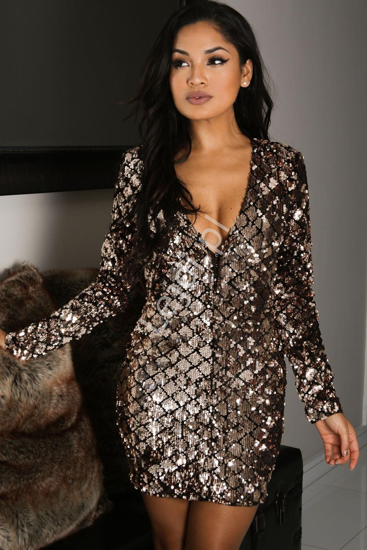 Zjawiskowa sukienka wieczorowa z cekinami kameleon | cekinowe sukienki - Lejdi