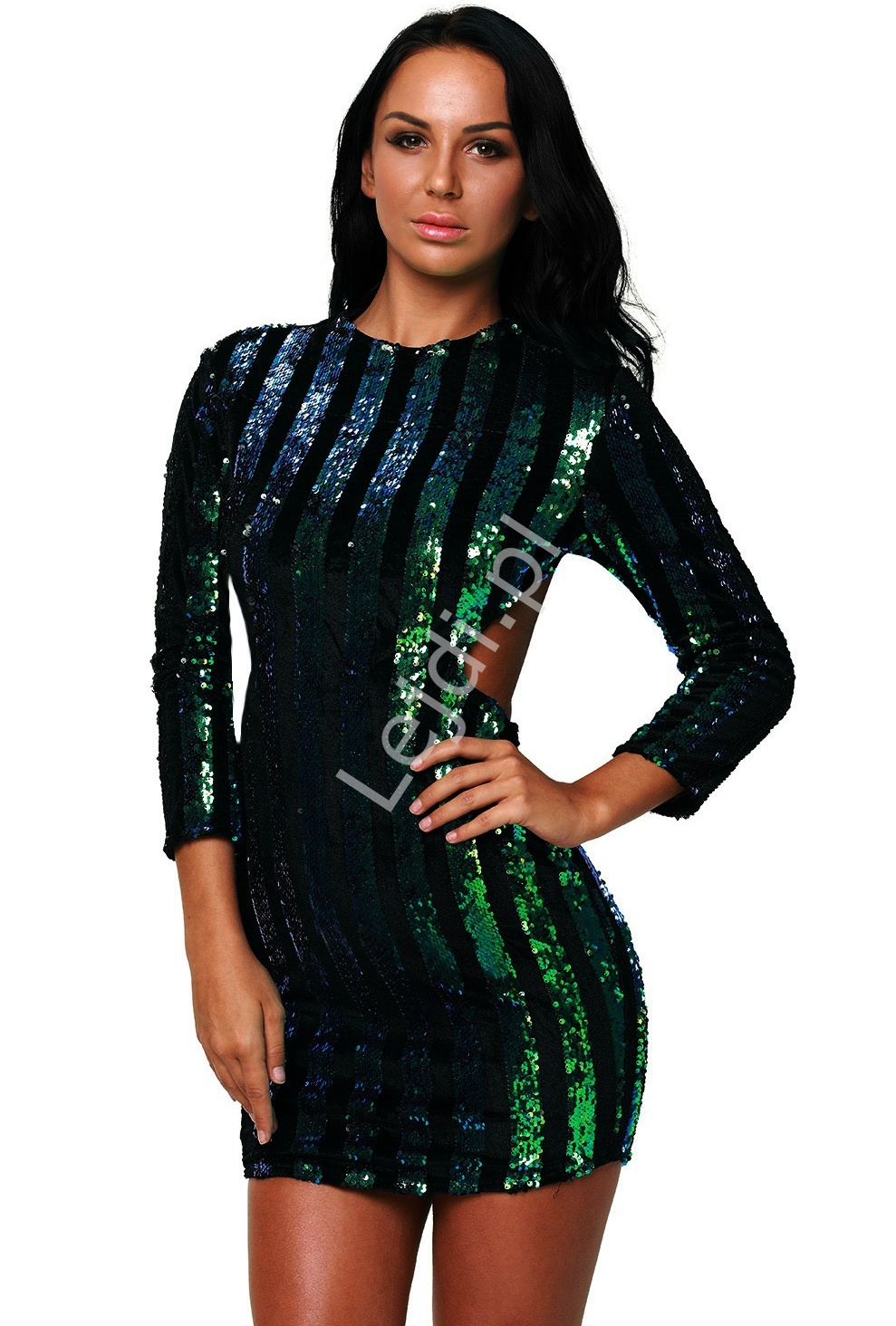 Zjawiskowa sukienka wieczorowa z odkrytymi plecami z cekinami kameleon niebiesko zielony | cekinowe sukienki 912 - Lejdi