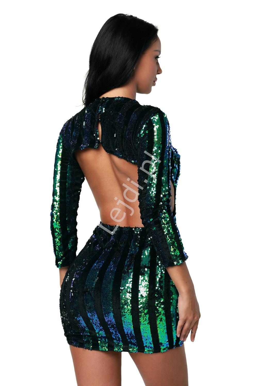 16f6e27cf2717 Zjawiskowa sukienka wieczorowa z odkrytymi plecami z cekinami kameleon  niebiesko zielony