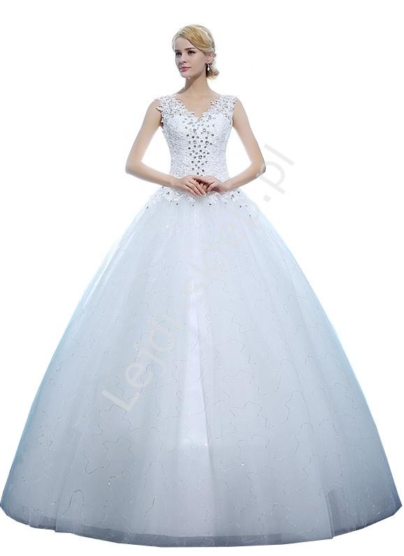 Zjawiskowa suknia ślubna z kryształami i gipiurowym gorsetem, model 13 - Lejdi