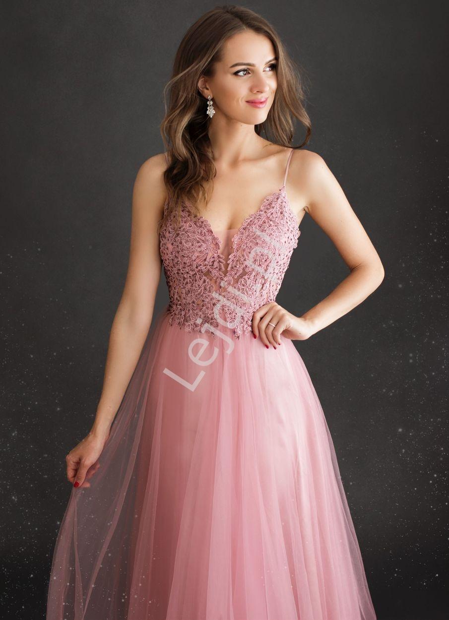 Zjawiskowa suknia wieczorowa tiulowa z koronkowym dekoltem z kryształkami 2221 - Lejdi