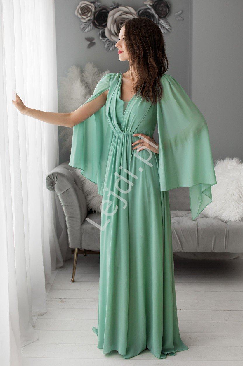 Zjawiskowa wieczorowa suknia miętowa matowa 1416 - Lejdi
