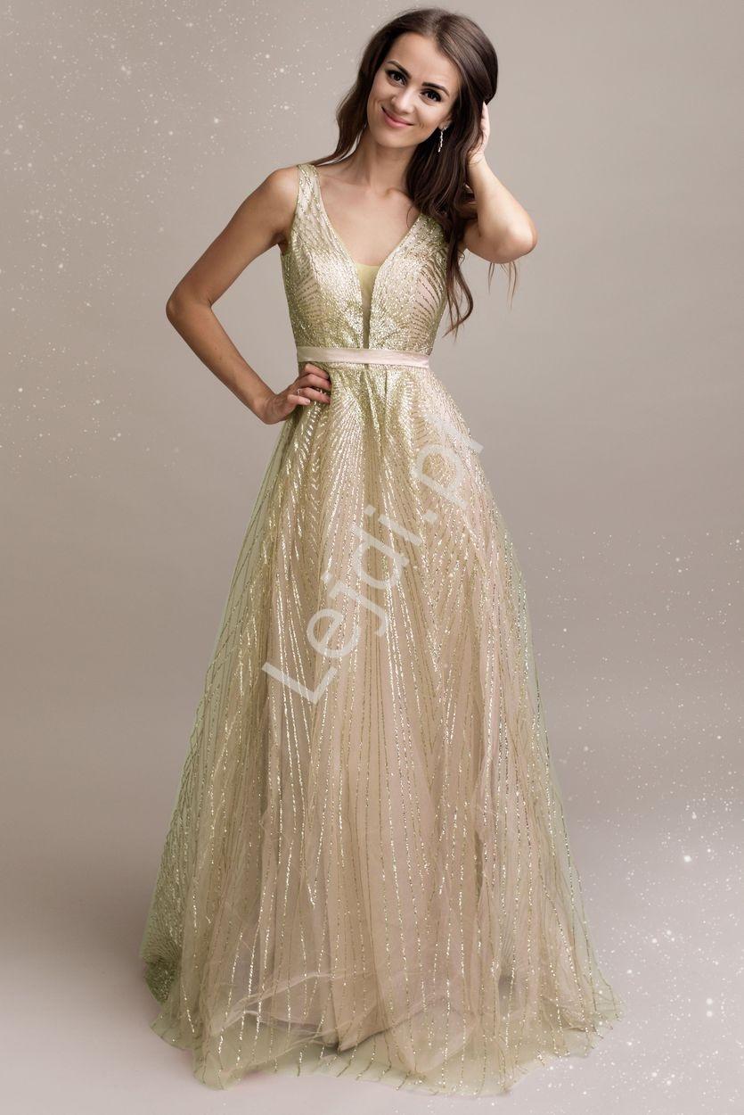 Złota brokatowa sukienka wieczorowa 2215 - Lejdi