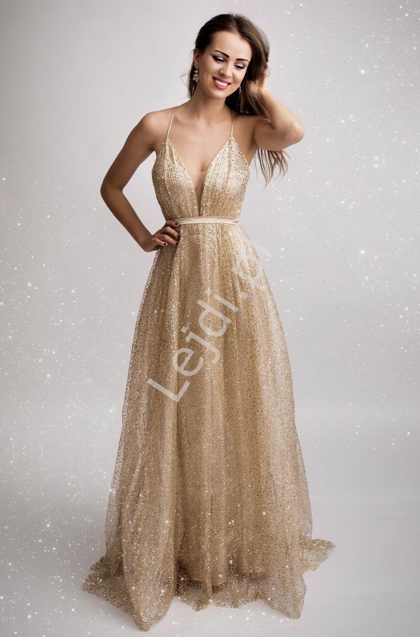 Złota brokatowa suknia wieczorowa z trenem 2179 - Lejdi