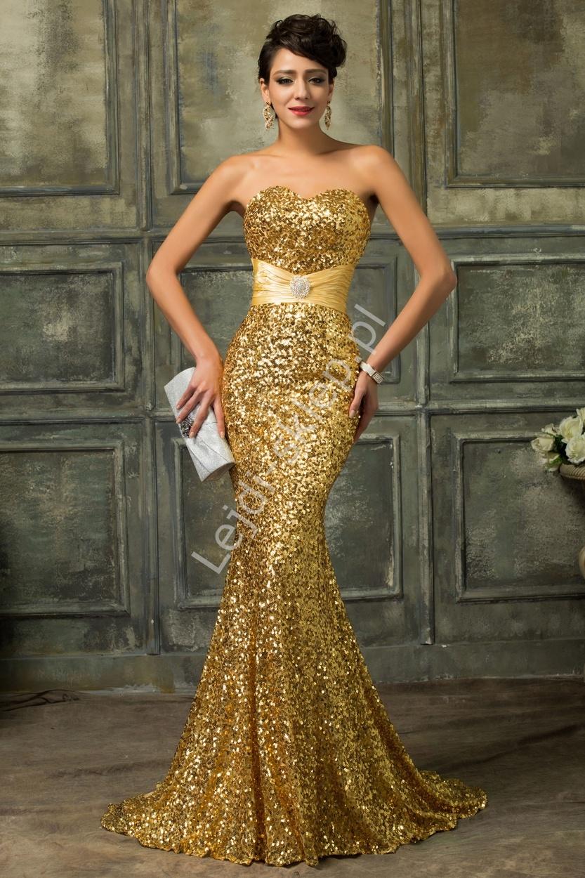 Złota cekinowa suknia wieczorowa | złote suknie karawałowe, estradowe - Lejdi