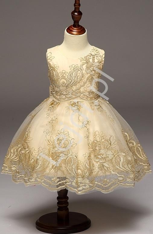Złota sukieneczka dla małej damy | sukienki dla dziewczynki - Lejdi