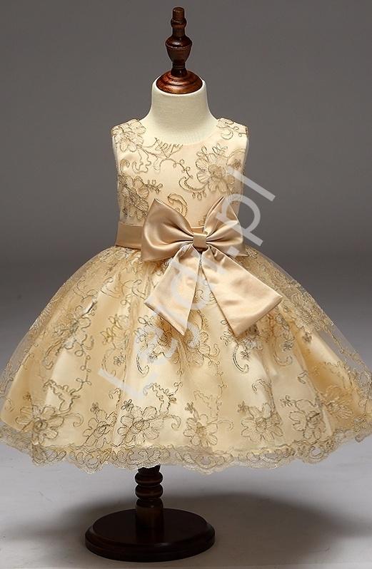 Złota sukienka dla małej księżniczki dla dziewczynek - Lejdi