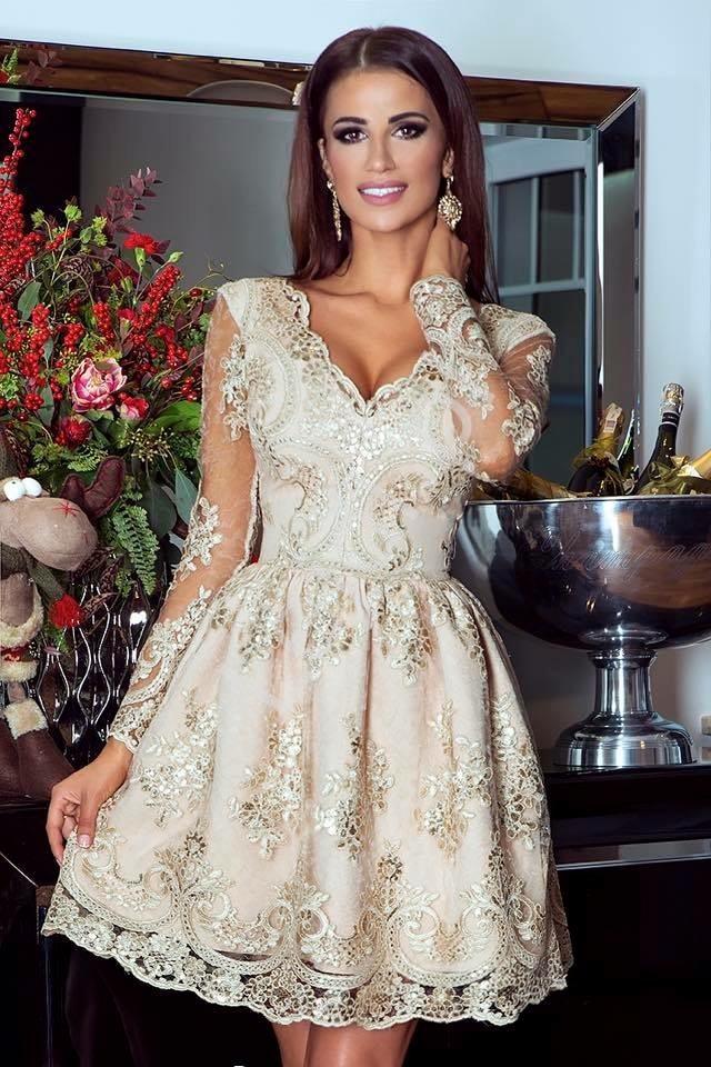 Złota sukienka na wesele, elegancka koronkowa rozkloszowana sukienka - Amelia - Lejdi